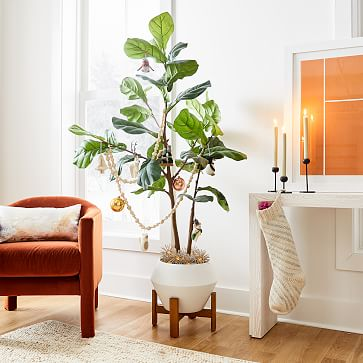 Faux Potted Fiddle Leaf, 5'