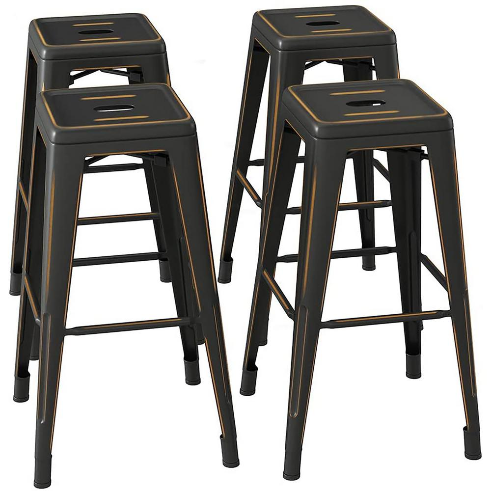 Boyel Living Gold Black Distressed Metal Barstools Set Of 4 Stackable Kitchen Backless Dining Stool Indoor Outdoor Patio Bar Chair Home Depot