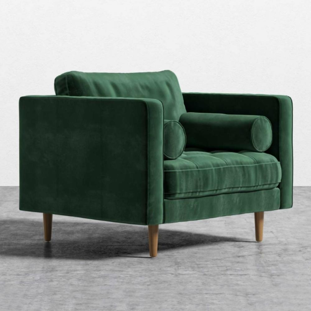 Rove Concepts Luca Modern Classic Moss Green Velvet Arm Chair