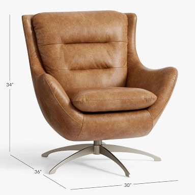 Vegan Leather Caramel Lennon Lounge Chair