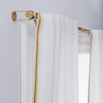 "European Flax Linen Embroidered Stripe Curtain, White + Dark Horseradish, 48""x84"""