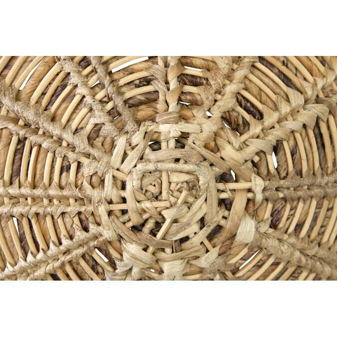"Round Handwoven Banana Bark & Water Hyacinth Basket Wall Décor, 27.5"""