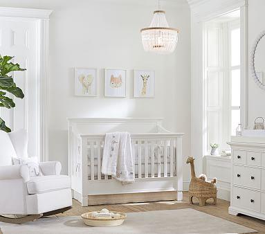Larkin 4-In-1 Convertible Crib &Lullaby Supreme Mattress Mattress Set, Simply White