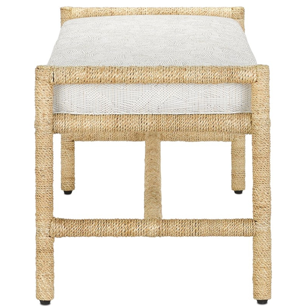 Olive Coastal Beach Off White Upholstered Woven Abaca Rope Bench