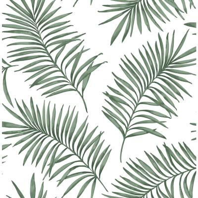 Superfresco Easy Scandi Leaf White and Green Forest Removable Wallpaper, White/Green