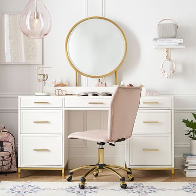 Blaire Smart Storage Desk and Vanity Mirror Set, Lacquered Simply White