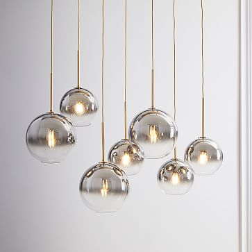 """Sculptural Glass 7-Light Globe Chandelier, 8"""", Silver Ombre Shade, Nickel Canopy"""
