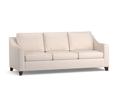 """Cameron Slope Arm Upholstered Deep Seat Grand Sofa 3-Seater 94"""", Polyester Wrapped Cushions, Park Weave Ash"""