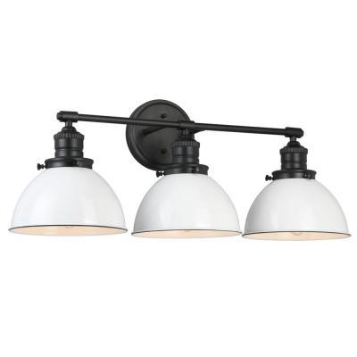 Design House Savannah Farmhouse 3-light Matte Black Vanity Light with White Shades
