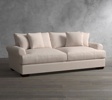 """Sullivan Roll Arm Upholstered Deep Seat Grand Sofa 95"""", Down Blend Wrapped Cushions, Performance Brushed Basketweave Ivory"""