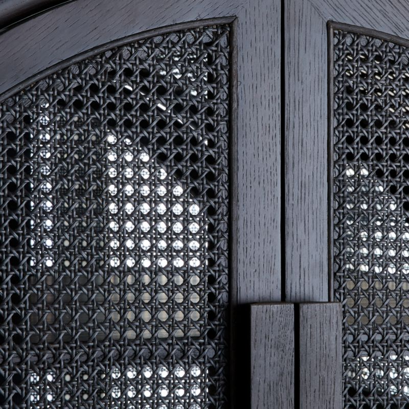 West Charcoal Cane Bar Cabinet