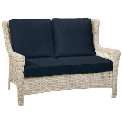 Hampton Bay Park Meadows Off-White Wicker Outdoor Patio Loveseat with CushionGuard Midnight Navy Blue Cushions