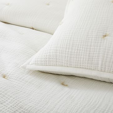 Dreamy Gauze Cotton Quilt, King, White
