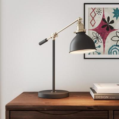 Hampton Bay 19.75 in. Matte Black and Antique Brass Industrial Balance Desk Lamp with LED Bulb