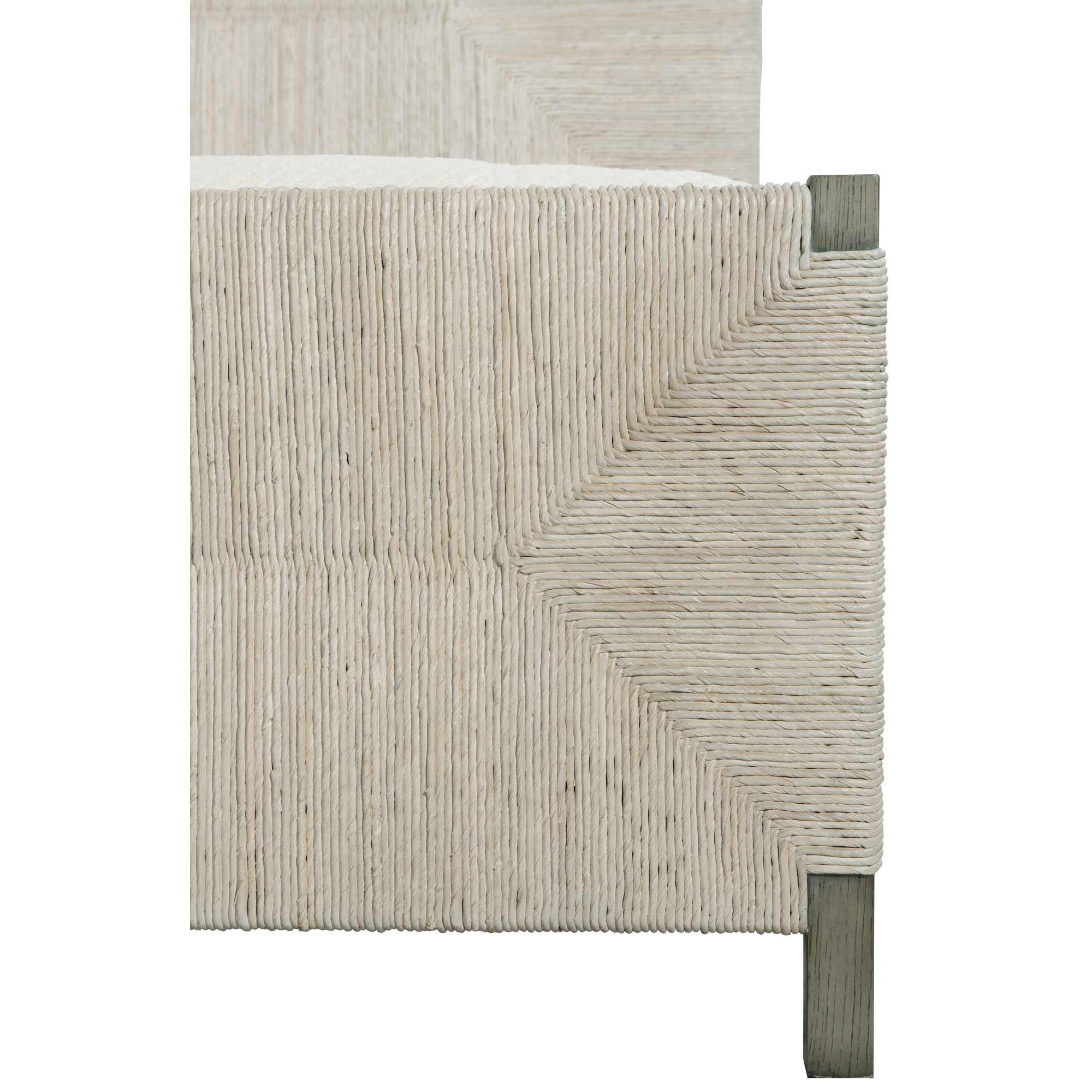 Vivian Coastal Beach Light Grey Woven Abaca Grey Wood Bed - King