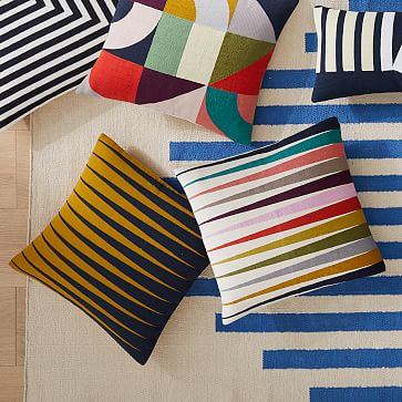 """Margo Selby Spliced Lines Pillow Cover, 20""""x20"""", Multi"""