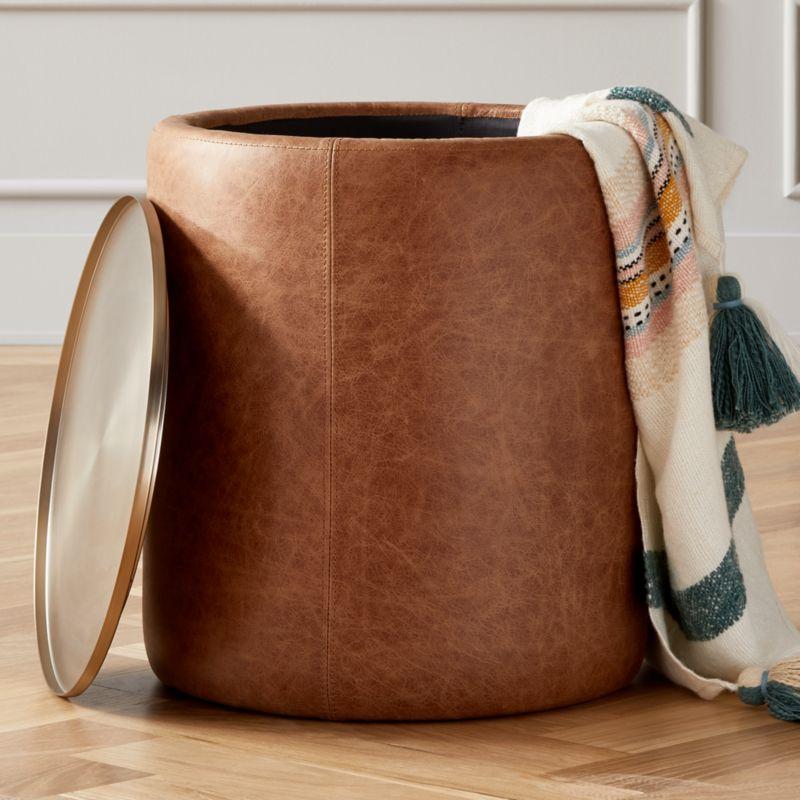 Stitch Leather Round Storage Side Table