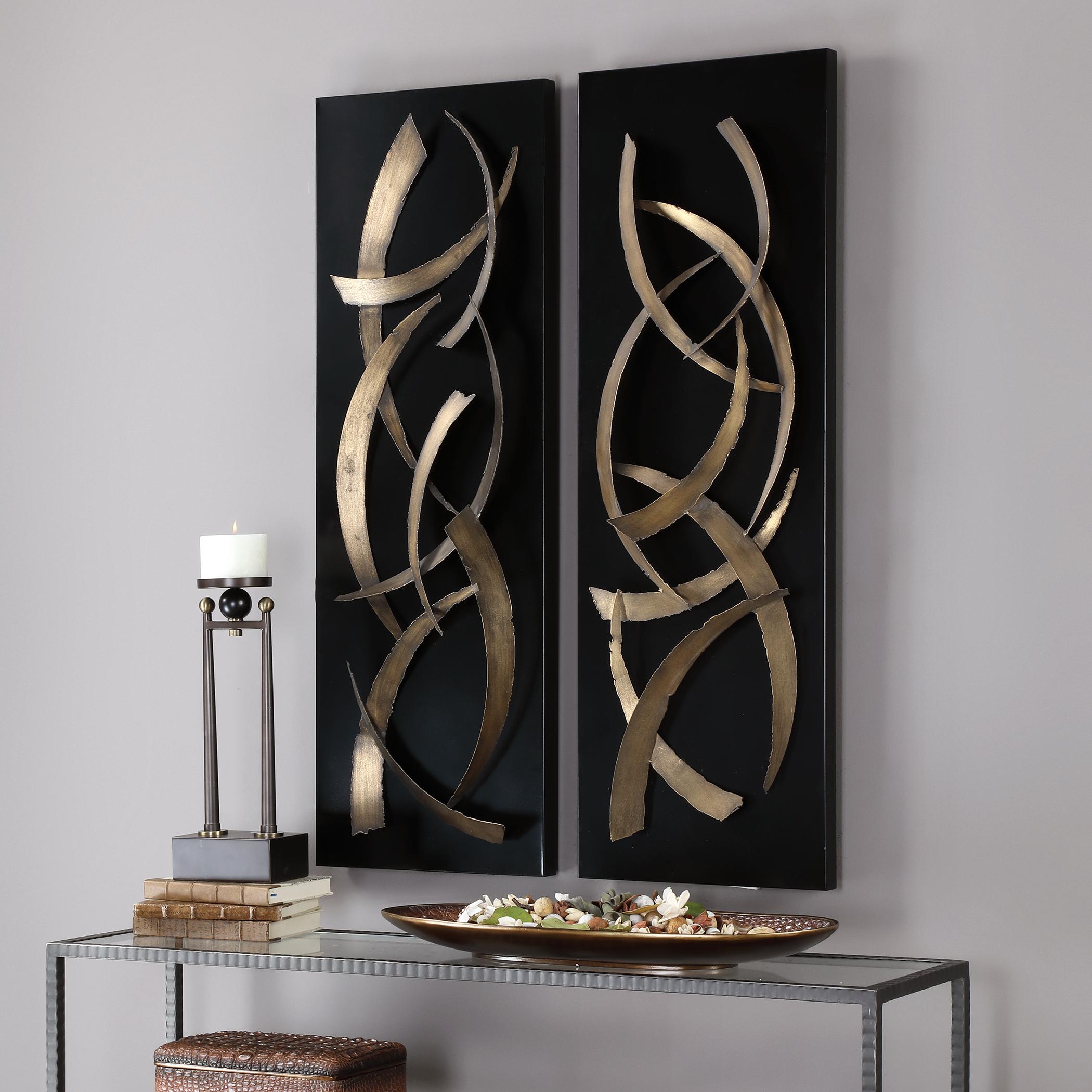 Brushstrokes Metal Wall Art, S/2