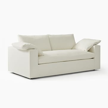 """Harmony Modular 82"""" Sofa, Down, Distressed Velvet, Mineral Gray, Concealed Supports"""