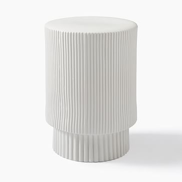 Textured Collection Large 16 Inch Side Table White