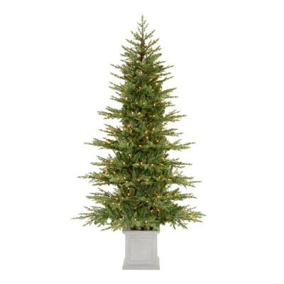 Home Accents Holiday 6.5 ft Winwood Grand Fir Potted Pre-Lit Artificial Christmas Tree with 300 White Lights