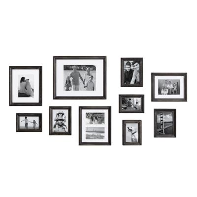 Kate and Laurel Bordeaux Distressed Black Picture Frames (Set of 10)