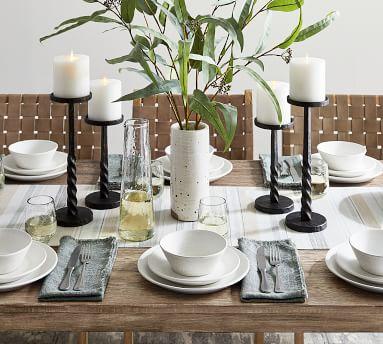Larkin Reactive Glaze Stoneware Dinner Plates, Set of 4 - Shell White