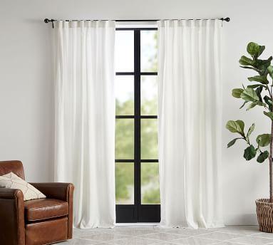 "Custom Classic Belgian Linen Curtain, 96 x 180"", Classic Ivory"
