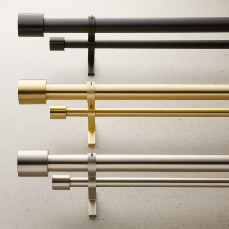 """Brushed Brass Cap Finial Double Rod Curtain Rod Set 88""""-120"""""""