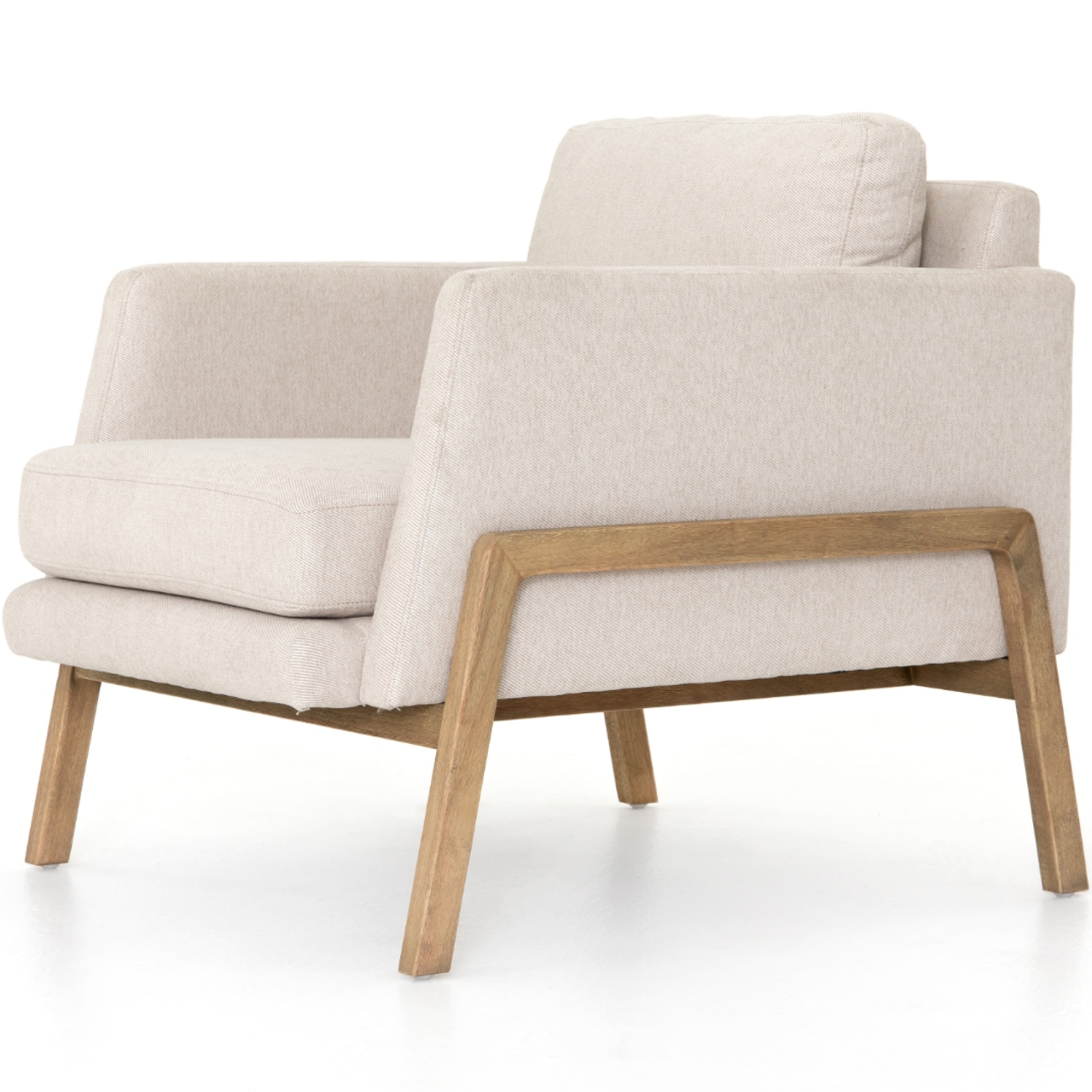 Macy Modern Classic White Upholstered Wood Arm Chair