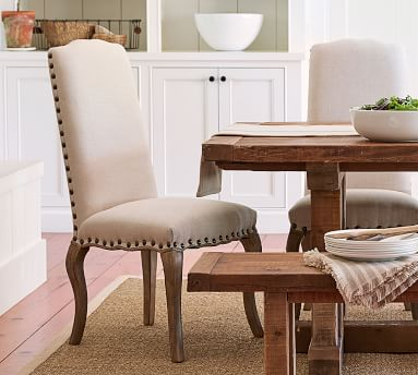 Calais Upholstered Dining Side Chair, Seadrift Frame, Performance Everydaylinen(TM) by Crypton(R) Home Oatmeal