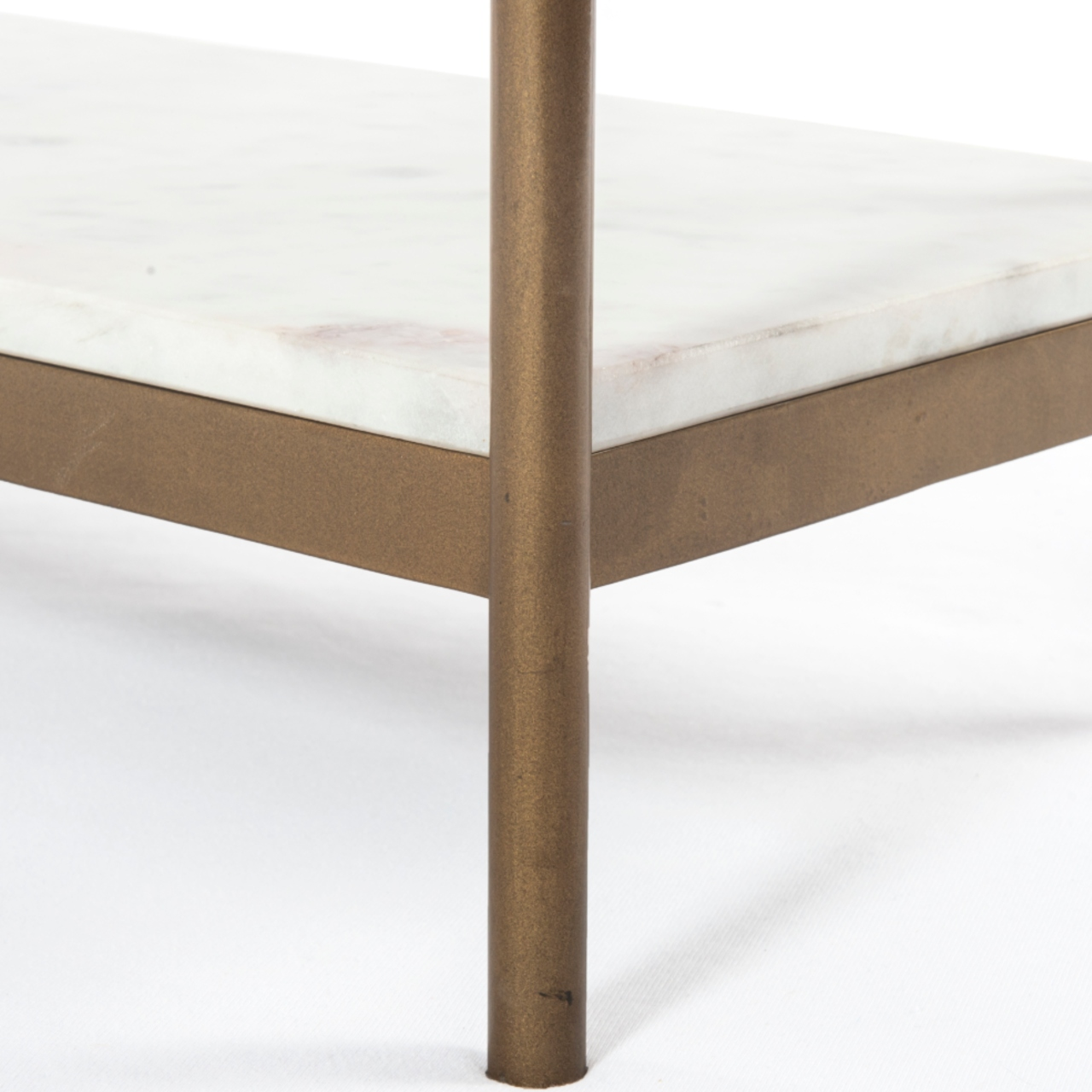Luna Modern Classic White Marble Top Antique Gold Metal Console Table
