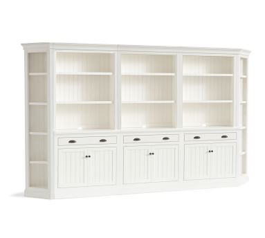 Aubrey Grand Wall Unit With Bookcases, Dutch White