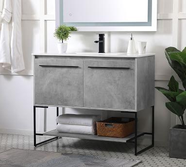 """Kinley Single Sink Vanity Cabinet, 2 Door, Concrete Gray, 30"""""""