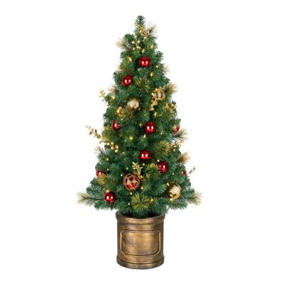 Home Accents Holiday 4.5 ft. Royal Easton Pre-Lit Potted Artificial Christmas Tree with 70-Clear Lights