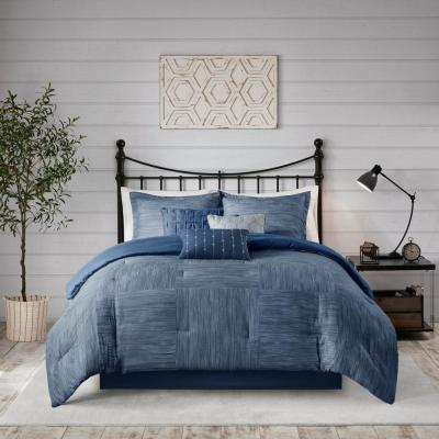 Madison Park Clayton 7-Piece Navy King Printed Seersucker Comforter Set, Blue