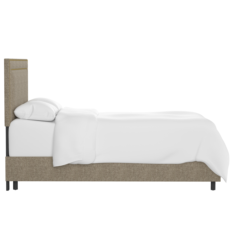 Williams Bed, California King, Linen, Brass Nailheads