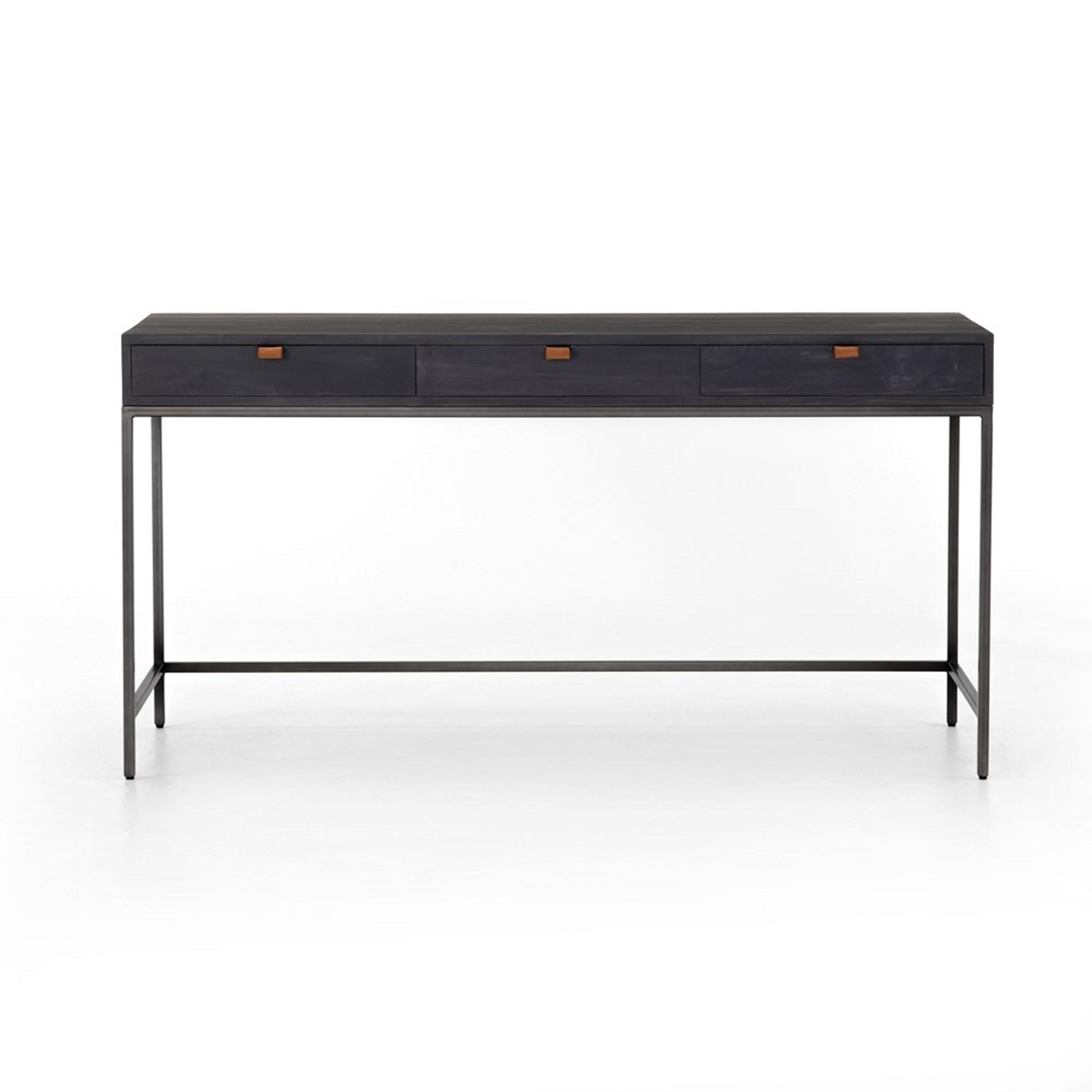 Theodore Industrial Loft Black Wood Iron 3 Drawer Desk