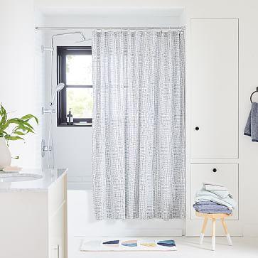 "Organic Bomu Shower Curtain, 72"" x 74"", Midnight"