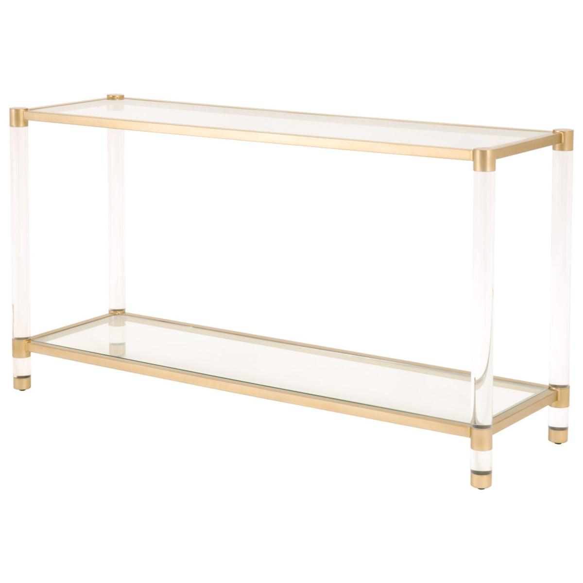 Rowan Modern Classic Glass Gold Metal Rectangular Console Table