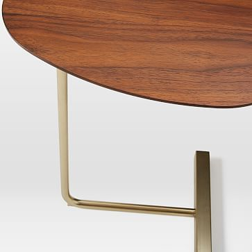 Charley C-Side Table, Walnut + Antique Brass