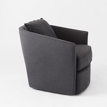 Duffield Swivel Chair, Performance Coastal Linen, Platinum