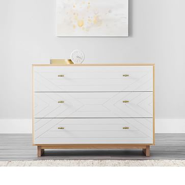 Cora Carved Dresser, Natural + Simply White