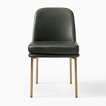 Jack Metal Frame Dining Chair, Sierra Leather, White, Light Bronze