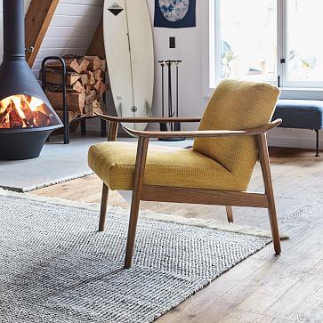 Mid-Century Show Wood Chair, Poly,Distressed Velvet Tarragon, Pecan/individual