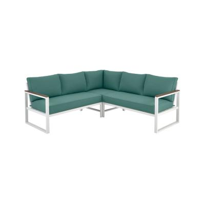 Hampton Bay West Park White Aluminum Outdoor Patio Sectional Sofa Seating Set with CushionGuard Charleston Blue-Green Cushions