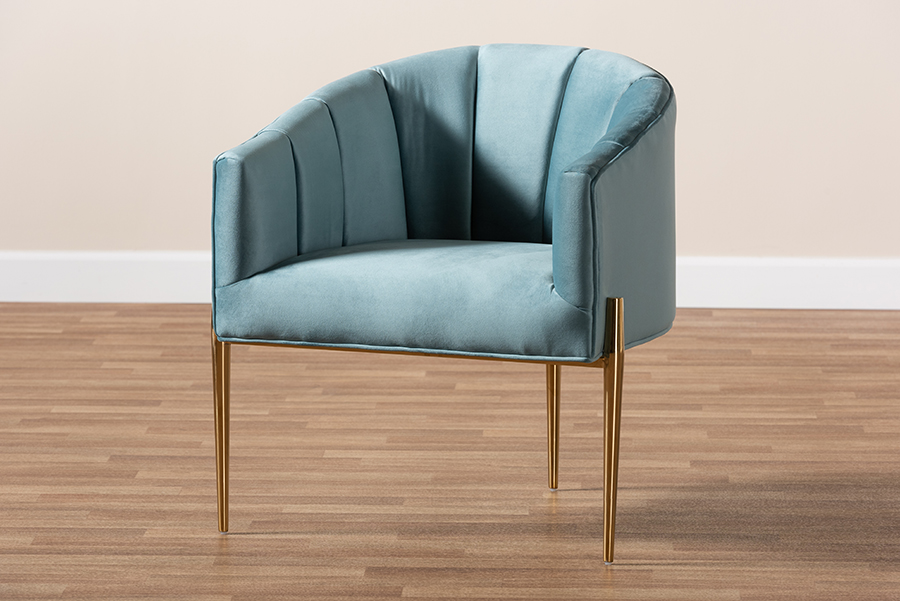 Baxton Studio Clarisse Glam and Luxe Light Blue Velvet Fabric Upholstered Gold Finished Accent Chair