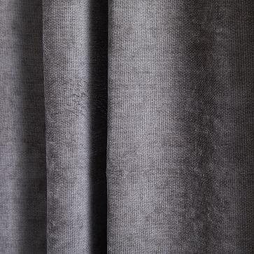 """Textured Upholstery Velvet Curtain with Black Out, Set of 2, Metal, 48""""x96"""""""