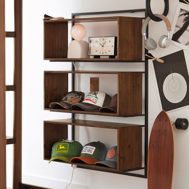 Modern Wall Bookcase, White/Gold