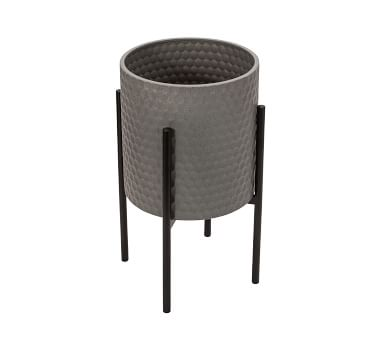 Bella Gray Patterned Raised Planters with Black Stand, Set of 2